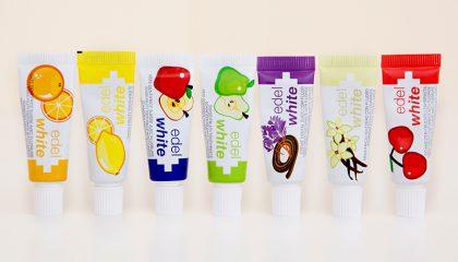 Die 7 Früchtli Kinderzahnpasta der Dentalmarke edel + white
